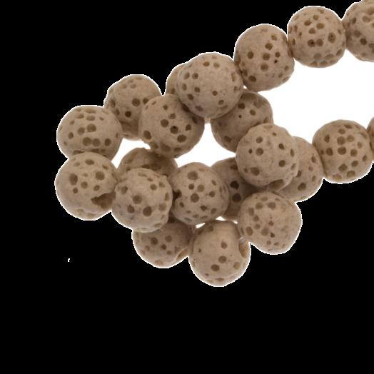 Lava Perlen (6 mm) Taupe (60 Stück)