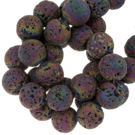 Lava Galvanisierte Perlen (10 mm) Mix Color Rainbow (39 Stück)