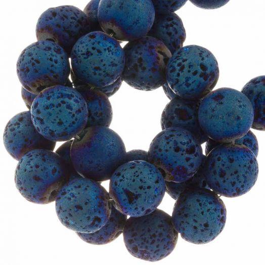 Lava Galvanisierte Perlen (8 mm) Denim Blue (48 Stück)