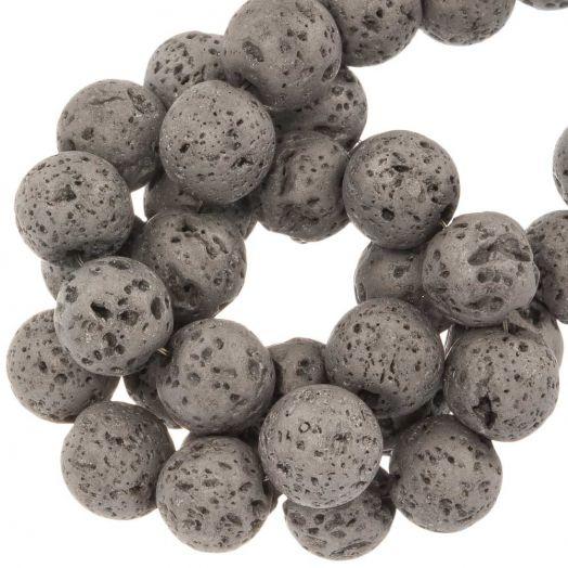 Lava Galvanisierte Perlen (8 mm) Silver (48 Stück)