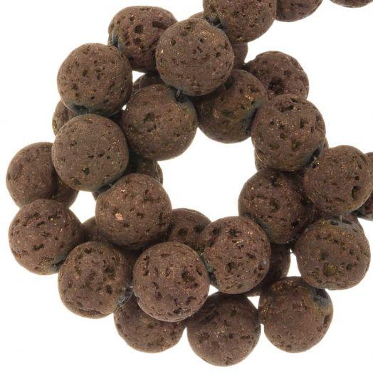 Lava Galvanisierte Perlen (10 mm) Chocolate (39 Stück)
