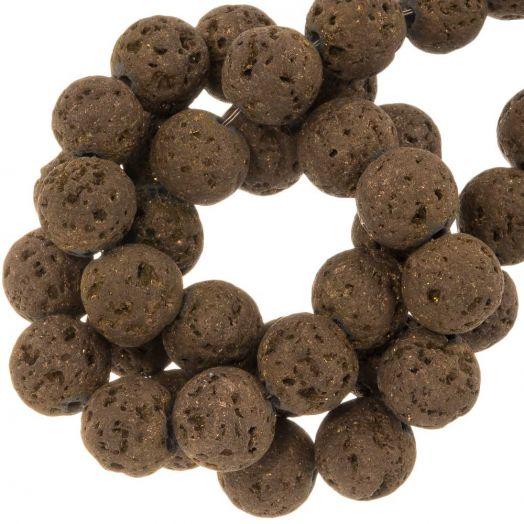 Lava Galvanisierte Perlen (8 mm) Walnut (48 Stück)