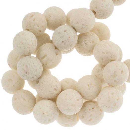 Lava Perlen (8 mm) White (50 Stück)