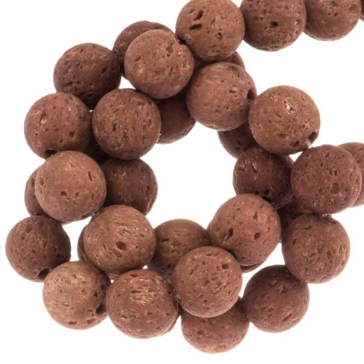 Lava Perlen (8 mm) Red Chocolate (50 Stück)