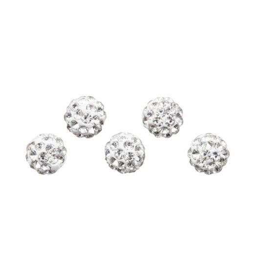 Shamballa Perlen (4 mm) Crystal (5 Stück)