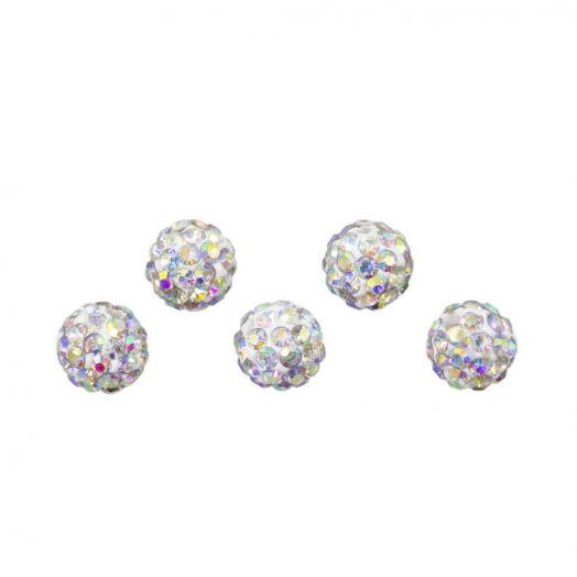 Shamballa Perlen (4 mm) Crystal AB (5 Stück)
