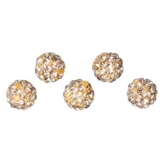 Shamballa Perlen (6 mm) Topaz (5 Stück)