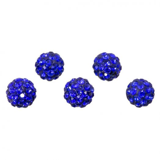 Shamballa Perlen (6 mm) Sapphire (5 Stück)