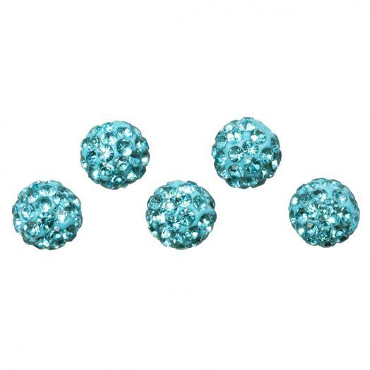 Shamballa Perlen (6 mm) Aquamarine (5 Stück)