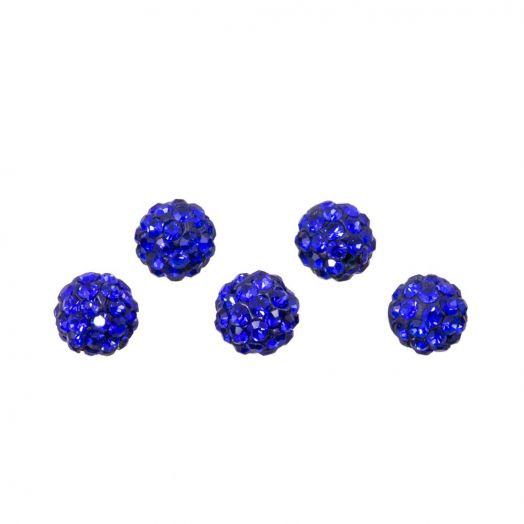 Shamballa Perlen (4 mm) Sapphire (5 Stück)