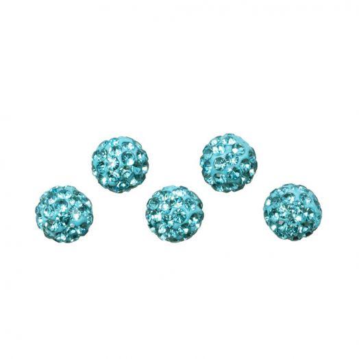 Shamballa Perlen (4 mm) Aquamarine (5 Stück)