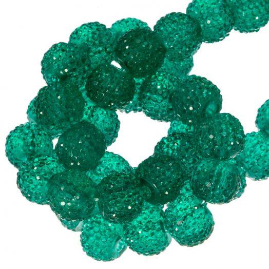 Acryl Perlen Strass (8 mm) Tansparent Dark Green (25 Stück)