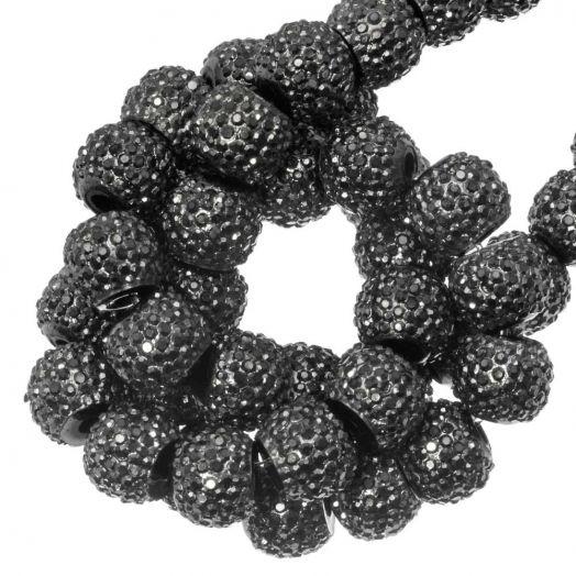 Acryl Perlen Strass (4 mm) Metallic Dark Grey (45 Stück)