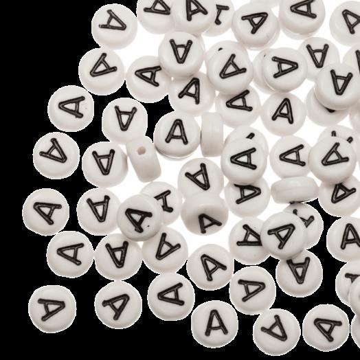 Acryl Buchstabenperlen A (8 x 8 x 4 mm) White (25 Stück)