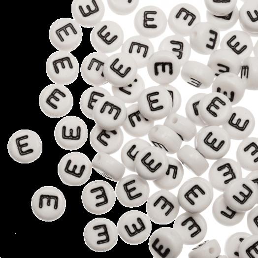 Acryl Buchstabenperlen E (8 x 8 x 4 mm) White (25 Stück)