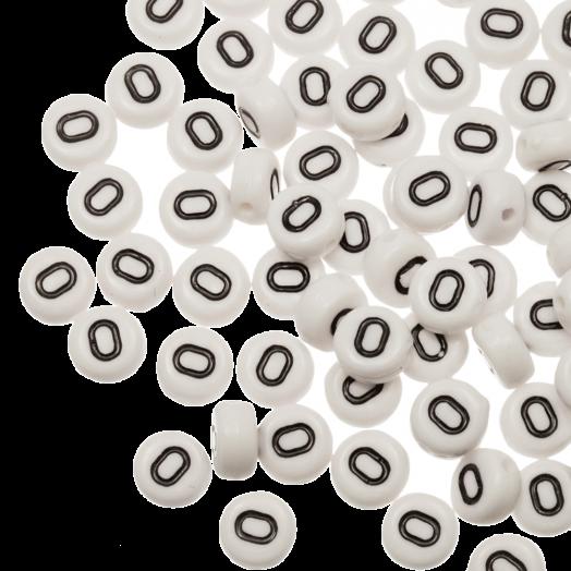 Acryl Buchstabenperlen O (8 x 8 x 4 mm) White (25 Stück)