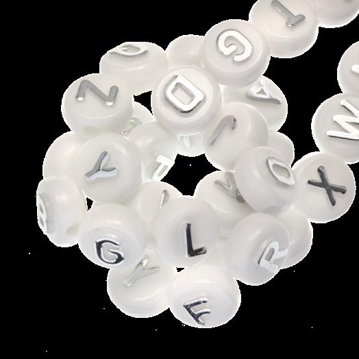 Acryl Buchstabenperlen Mischen (10 x 6 mm) Silber (170 Stück)