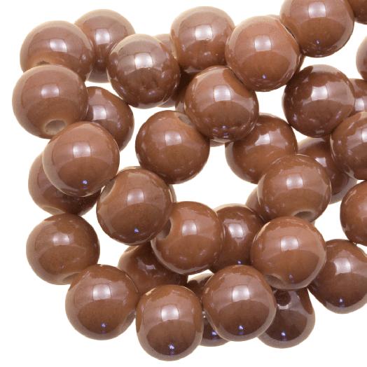 Keramikperlen (8 mm) Tan Brown (25 Stück)