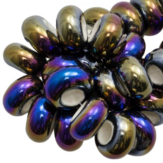 Keramikperlen Großloch (16 x 8 mm) Multi Color (15 Stück)