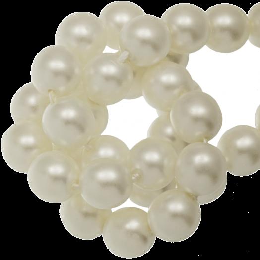 DQ Glaswachsperlen (6 mm) Broken White Matt (80 Stück)