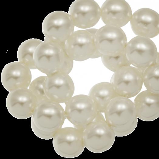 DQ Glaswachsperlen (8 mm) Broken White Shine (75 Stück)