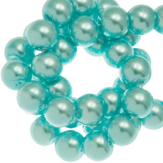 Glaswachsperlen (8 mm) Aqua Blue (100 Stück)