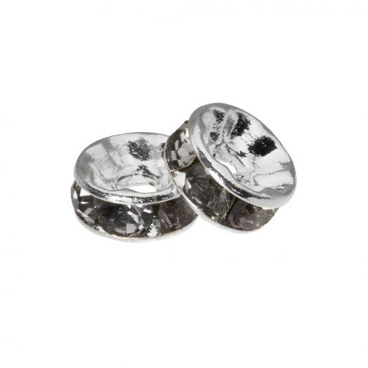 Strasssteinperlen (4 x 2 mm) Grey (10 Stück)