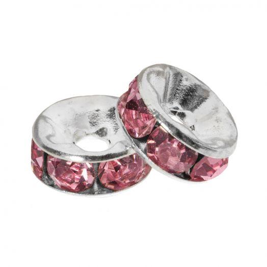 Strasssteinperlen (6 x 3 mm) Pink (10 Stück)