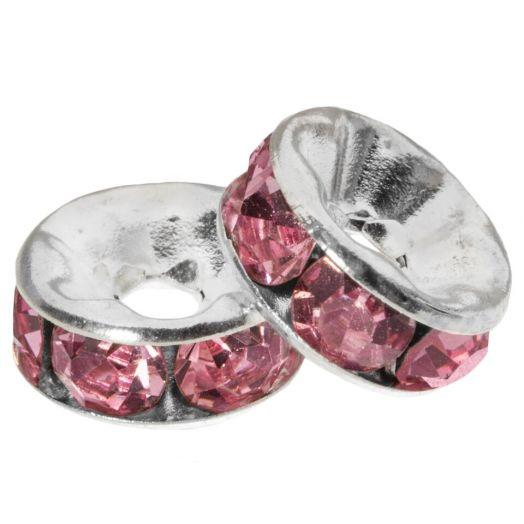 Strasssteinperlen (8 x 4 mm) Pink (10 Stück)