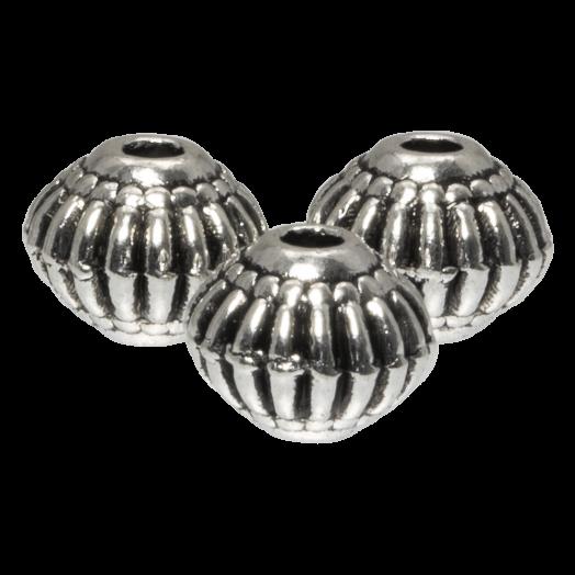 Metallperlen (8 x 6.5 mm) Altsilber (20 Stück)