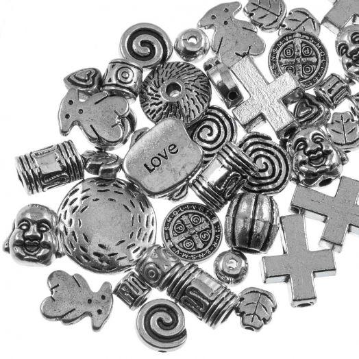 Vorteilset - Metallperlen (diverse Größen) Altsilber (100 Gramm)
