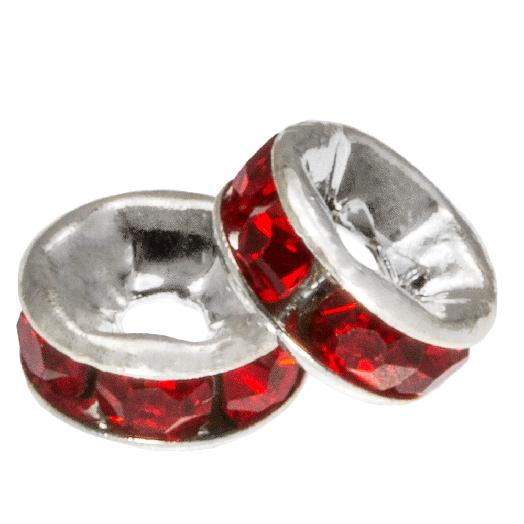 Strasssteinperlen (4 x 2 mm) Red (10 Stück)