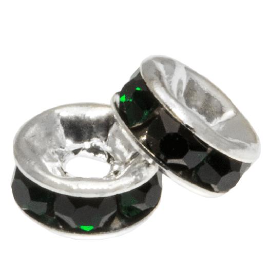 Strasssteinperlen (6 x 3 mm) Dark Green (10 Stück)