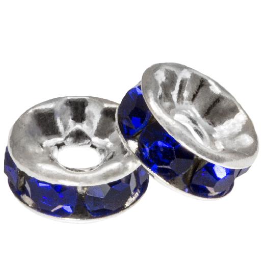 Strasssteinperlen (8 x 4 mm) Dark Blue (10 Stück)