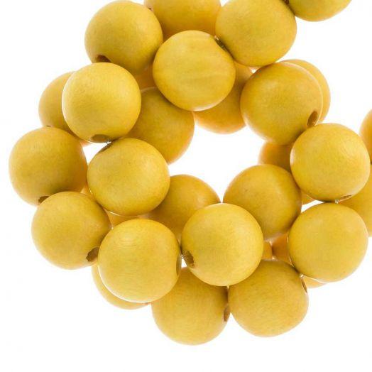 Holzperlen Intense Look (16 mm) Yellow (25 Stück)