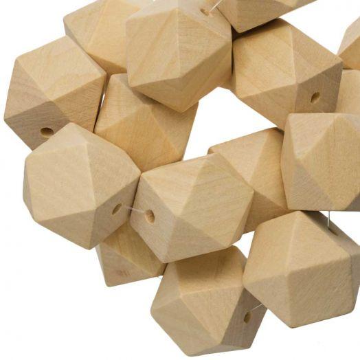 Holzperlen Kubusform (30 mm) Natur (5 Stück)