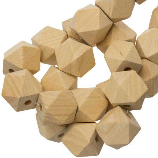 Holzperlen Kubusform (19 mm) Natur (25 Stück)