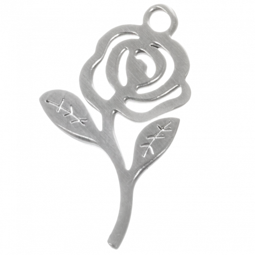Stainless Steel Charms Rose (21 x 12 mm) Altsilber (4 Stück)
