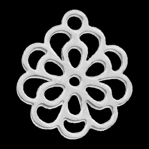 Stainless Steel Charm Blume (14 x 11 mm) Altsilber (5 Stück)