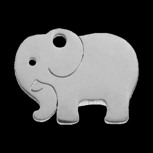 Stainless Steel Charm Elefant (13 x 10 mm) Altsilber (4 Stück)