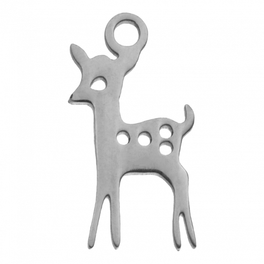 Stainless Steel Charm Hirsch (15 x 8 mm) Altsilber (4 Stück)
