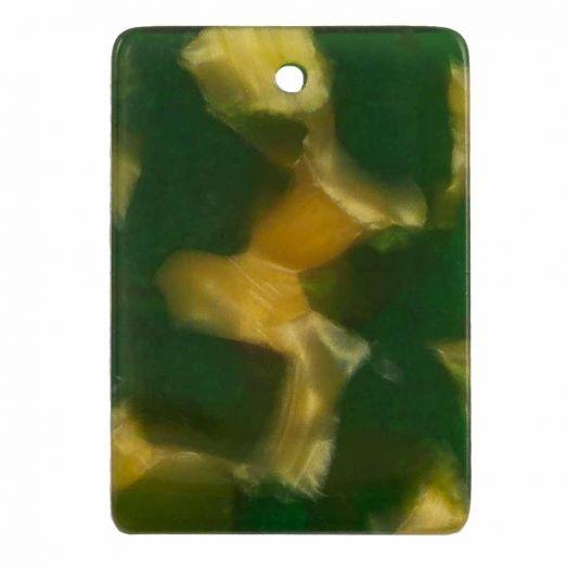 Charm aus Kunstharz (22 x 15 mm) Dark Green (5 Stück)