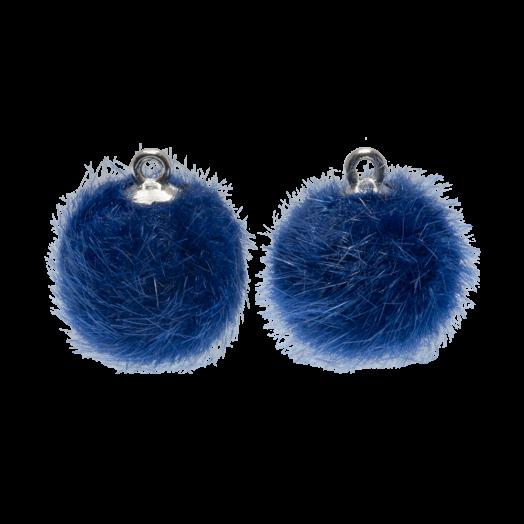Pompon Charms (15 mm) Altsilber / Royal Blue (10 Stück)