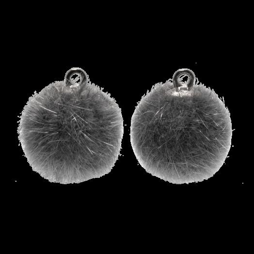 Pompon Charms (15 mm) Altsilber / Grey (10 Stück)