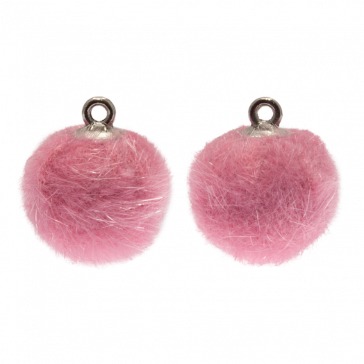 Pompon Charms (15 mm) Altsilber / Party Pink (10 Stück)