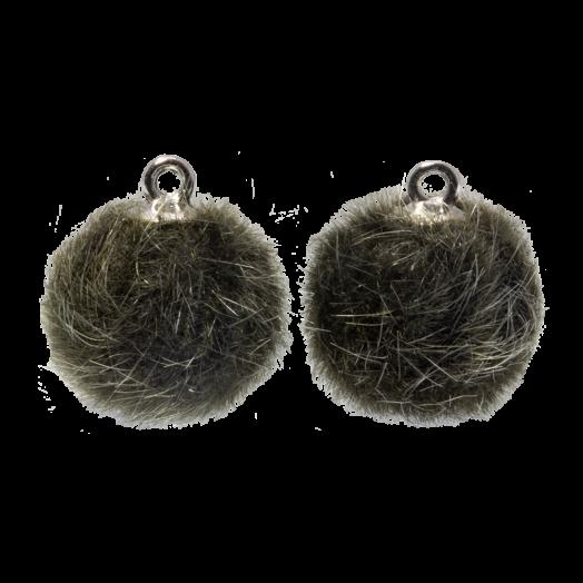 Pompon Charms (15 mm) Altsilber / Army Green (10 Stück)