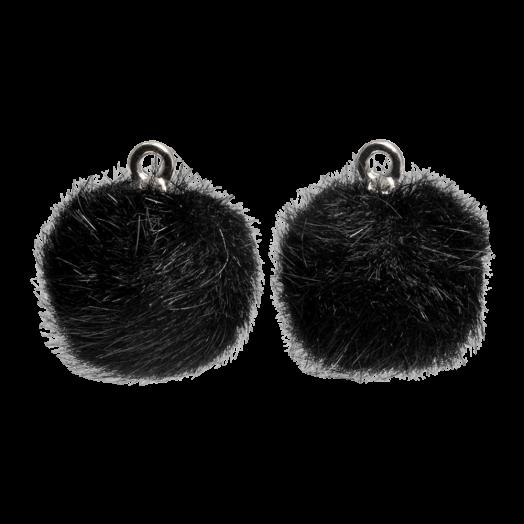 Pompon Charms (12 mm) Altsilber / Black (10 Stück)