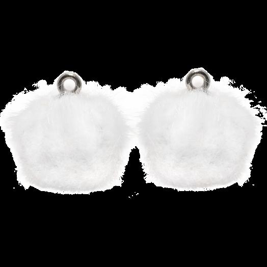Pompon Charms (15 mm) Altsilber / White (10 Stück)