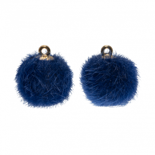 Pompon Charms (12 mm) Gold / Royal Blue (10 Stück)