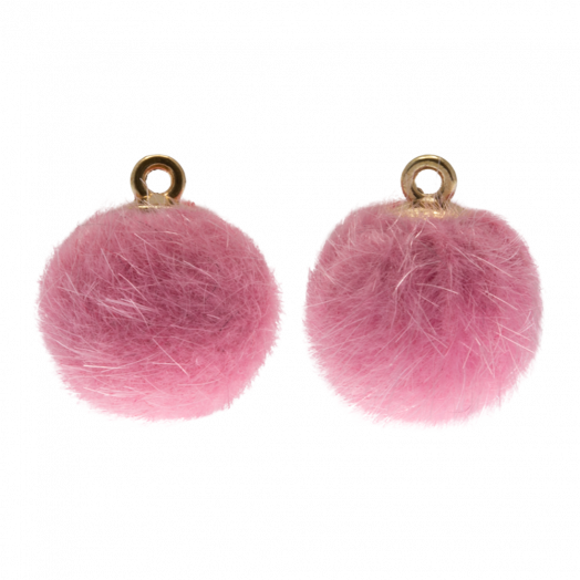 Pompon Charms (12 mm) Gold / Party Pink (10 Stück)